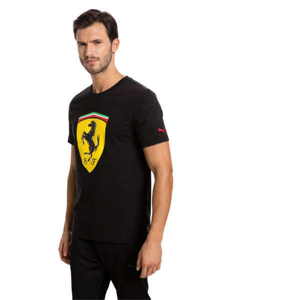 Ferrari Herren Big Shield T-Shirt, Cotton Black, large