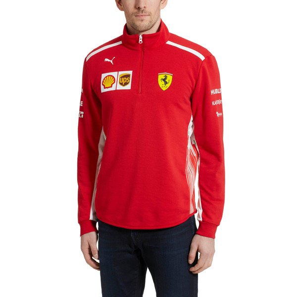 Scuderia Ferrari Men's Team Half Zip Fleece, Rosso Corsa, large