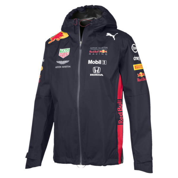 Red Bull Racing Team Hooded Men's Rain Jacket, NIGHT SKY, large