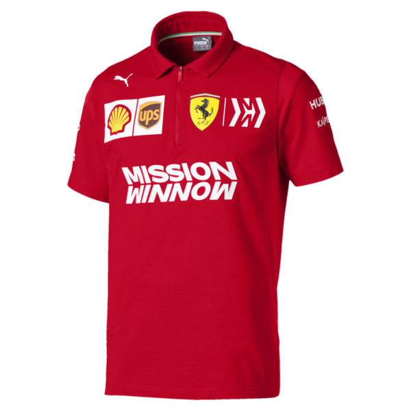 Ferrari Team Short Sleeve Men's Polo Shirt, Rosso Corsa, large