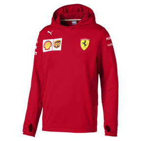 Thumbnail 1 of Ferrari Team Tech Fleece Hooded Men's Jacket, Rosso Corsa, medium