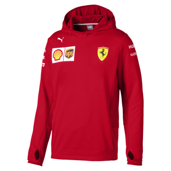 Ferrari Team Tech Fleece Hooded Men's Jacket, Rosso Corsa, large