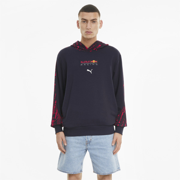 puma red bull racing men's aop hoodie in black, size s