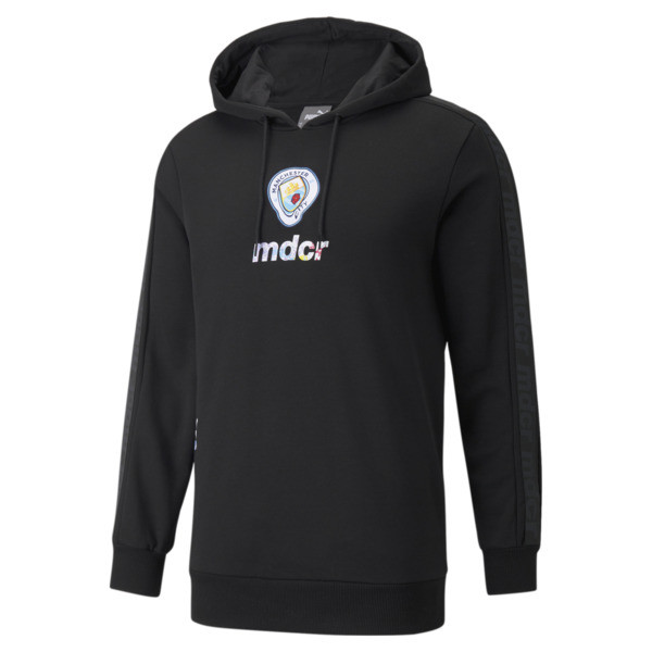 puma manchester city x mdcr graphic men's soccer hoodie in black, size s