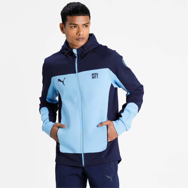 Puma Manchester City Fc Evostripe Men's Hooded Jacket In Team Light Blue/Peacoat, Size S