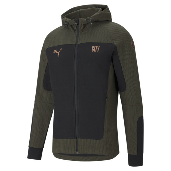 puma manchester city fc evostripe men's hooded jacket in cotton black/forest night, size s