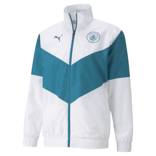 puma x first mile manchester city prematch men's soccer jacket in aquamarine, size s