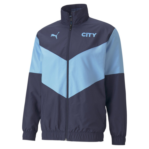 puma x first mile manchester city prematch men's soccer jacket in peacoat/team light blue, size s