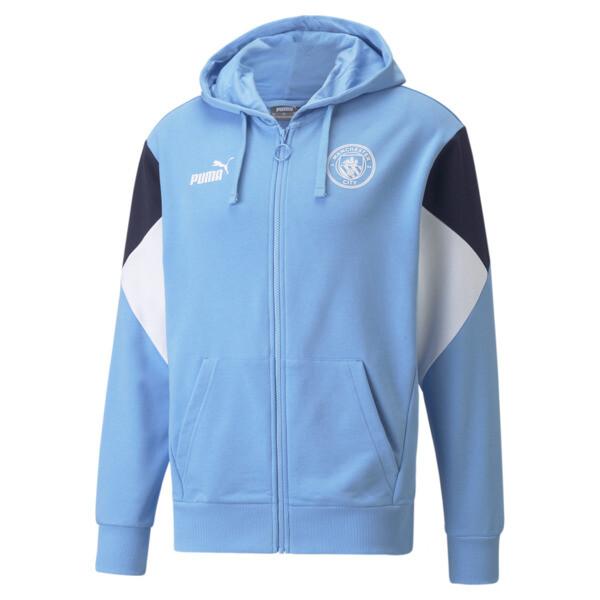 puma manchester city ftblculture full-zip men's soccer hoodie in team light blue/white, size s