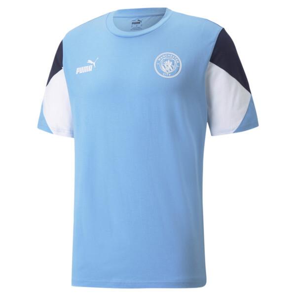puma manchester city ftblculture men's soccer t-shirt in team light blue/white, size s