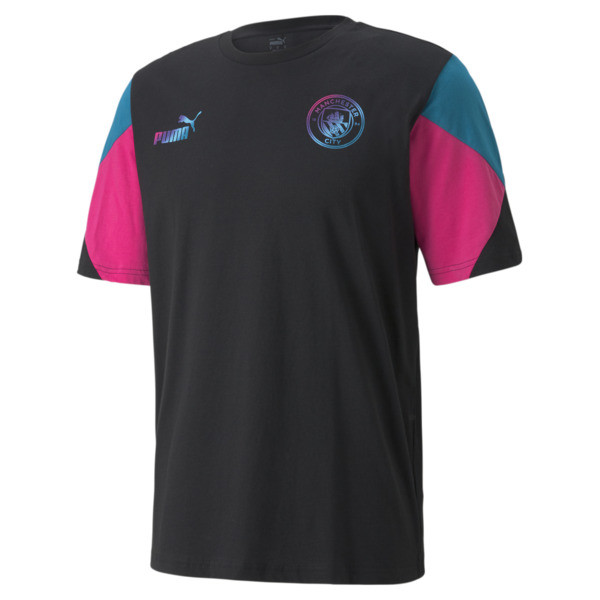 puma manchester city ftblculture men's soccer t-shirt in aquamarine, size xs