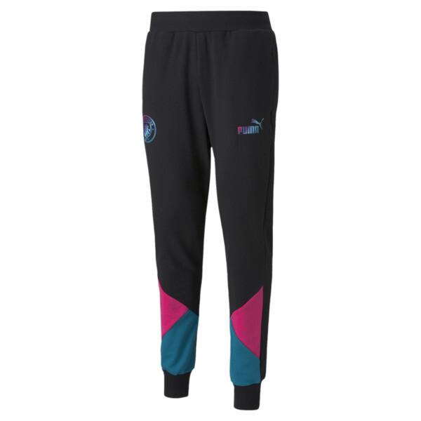 puma manchester city ftblculture men's soccer track pants in aquamarine, size xs