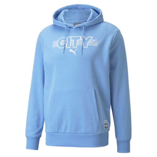 puma manchester city ftblcore men's soccer hoodie in team light blue/white, size s