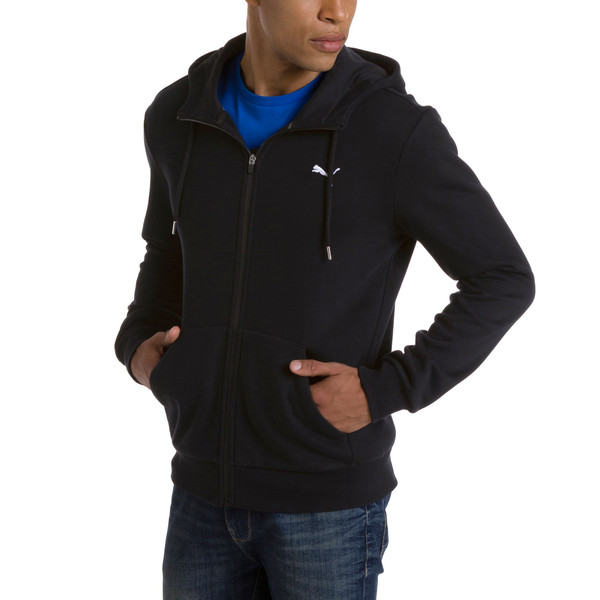 Style Men's Full Zip Fleece Hoodie, Cotton Black, large