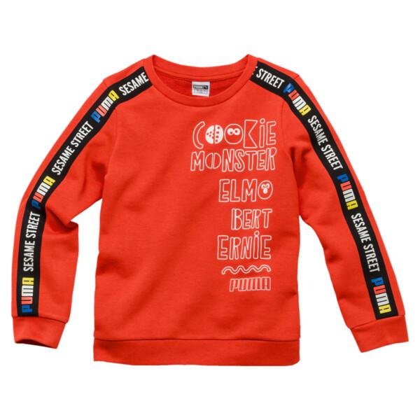 PUMA x SESAME STREET Boy's Crewneck Sweatshirt, Cherry Tomato, large