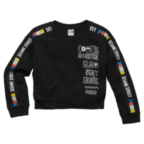 Thumbnail 1 of Sesame Girls' Crew Sweatshirt, Cotton Black, medium
