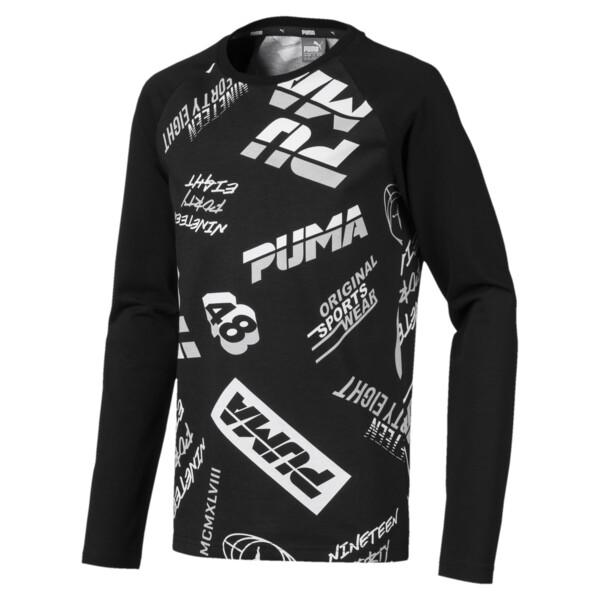 キッズ ALPHA LS AOP Tシャツ (長袖), Cotton Black, large-JPN