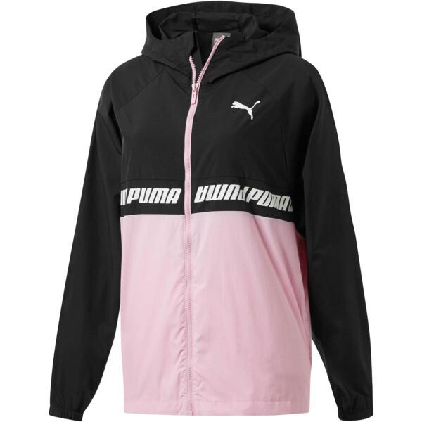 Modern Sports Women's Full Zip Jacket, Puma Black-Pale Pink, large