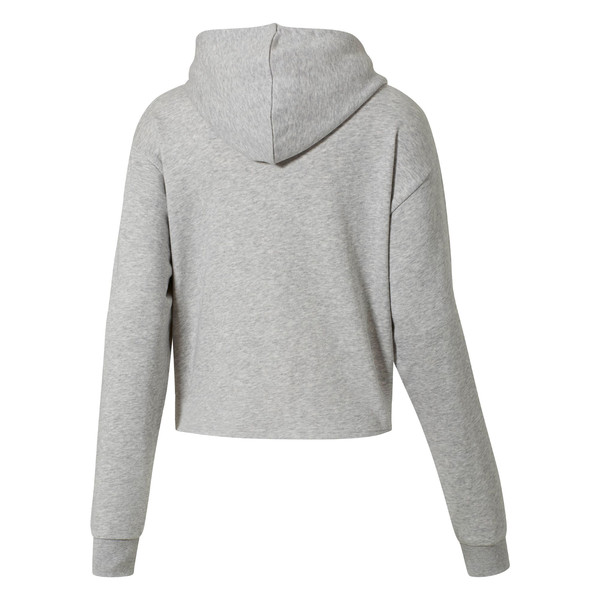 Essentials+ Logo Women's Cropped Hoodie, Light Gray Heather-P. White, large
