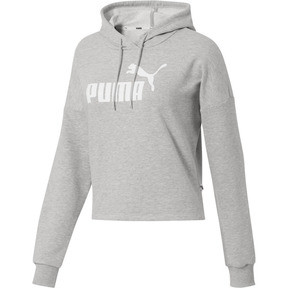 Thumbnail 1 of Essentials+ Logo Women's Cropped Hoodie, Light Gray Heather-P. White, medium