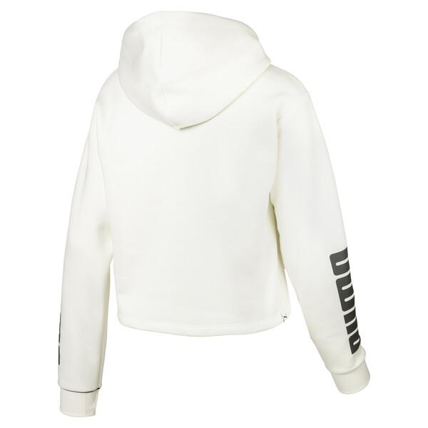 Cropped hoodie van fleece voor dames, Marshmallow, large