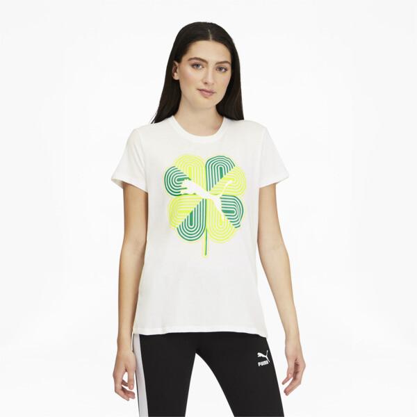 Puma Clover Women's T-Shirt In White, Size S