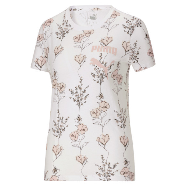 Puma In Bloom Women's Aop Flower T-Shirt In White/Aop, Size Xs