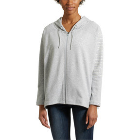 Thumbnail 2 of Women's Fusion Full Zip Hoddie, Light Gray Heather, medium