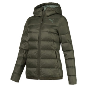 Thumbnail 1 of Women's PWRWARM X packLITE 600 Hooded Down Jacket, Forest Night, medium