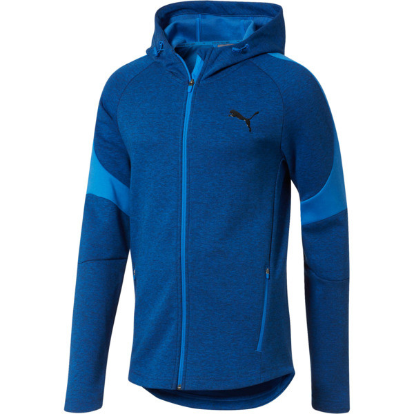 Evostripe Full Zip Men's Hoodie, Strong Blue Heather, large