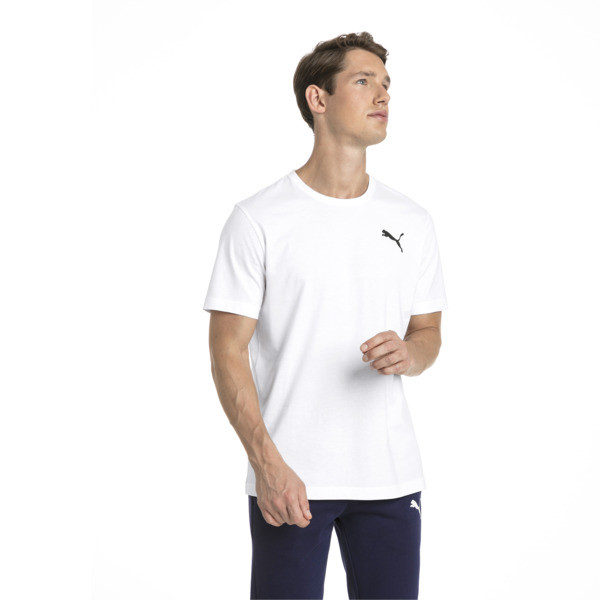 Men's Essentials Small Logo T-Shirt, Puma White-_Cat, large