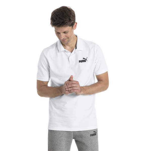 Essential Short Sleeve Men's Polo Shirt, Puma White, large