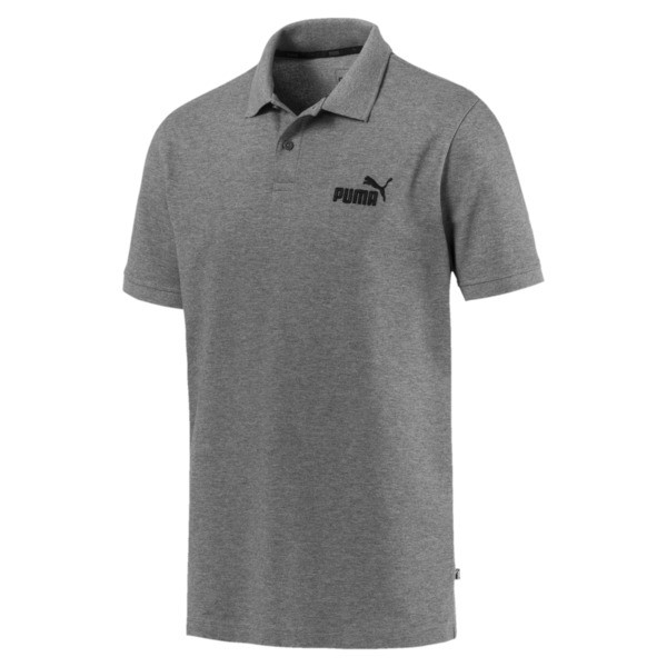 Essential Short Sleeve Men's Polo Shirt, Medium Gray Heather, large