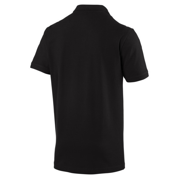 Essential Short Sleeve Men's Polo Shirt, Cotton Black-_Cat, large