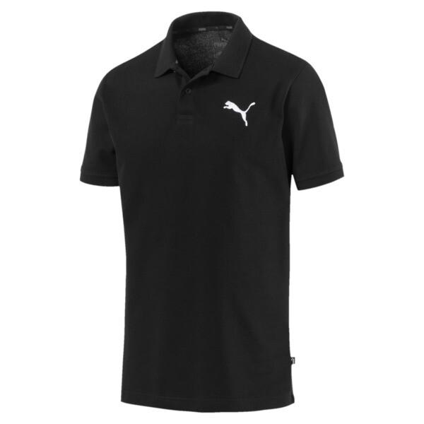 Essentials Men's Pique Polo, Cotton Black-_Cat, large