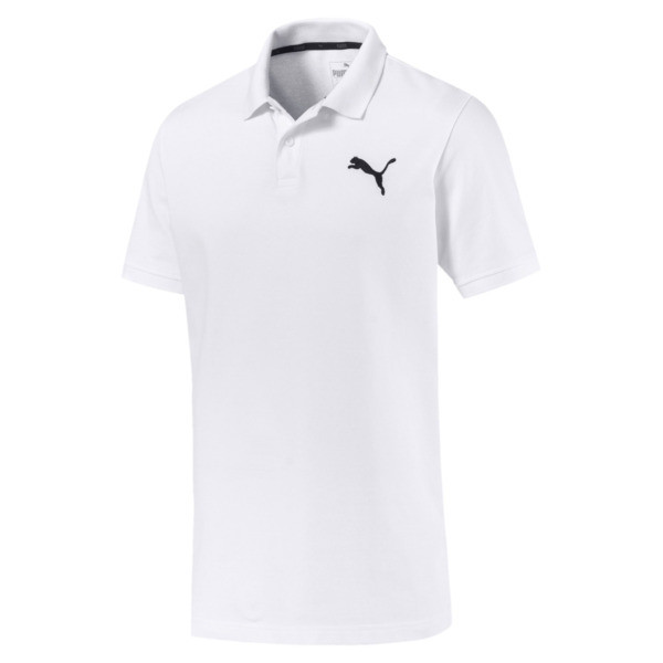 Essential Short Sleeve Men's Polo Shirt, Puma White-_Cat, large