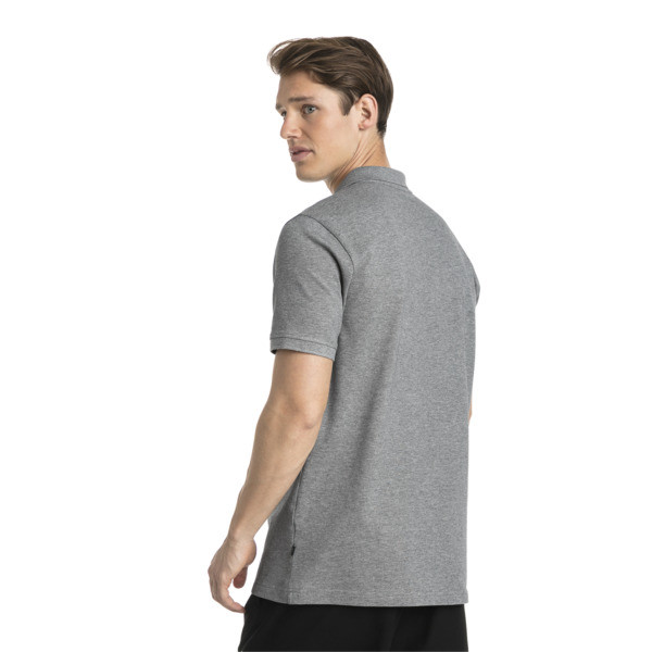 Essential Short Sleeve Men's Polo Shirt, Medium Gray Heather-_Cat, large