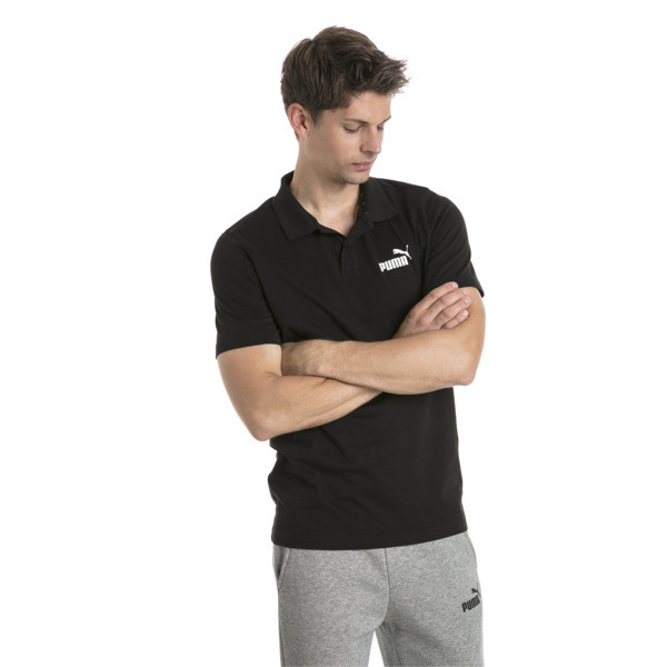 Essentials Men's Jersey Polo, Cotton Black, large