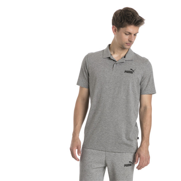 Polo de punto básico de hombre, Medium Gray Heather, grande