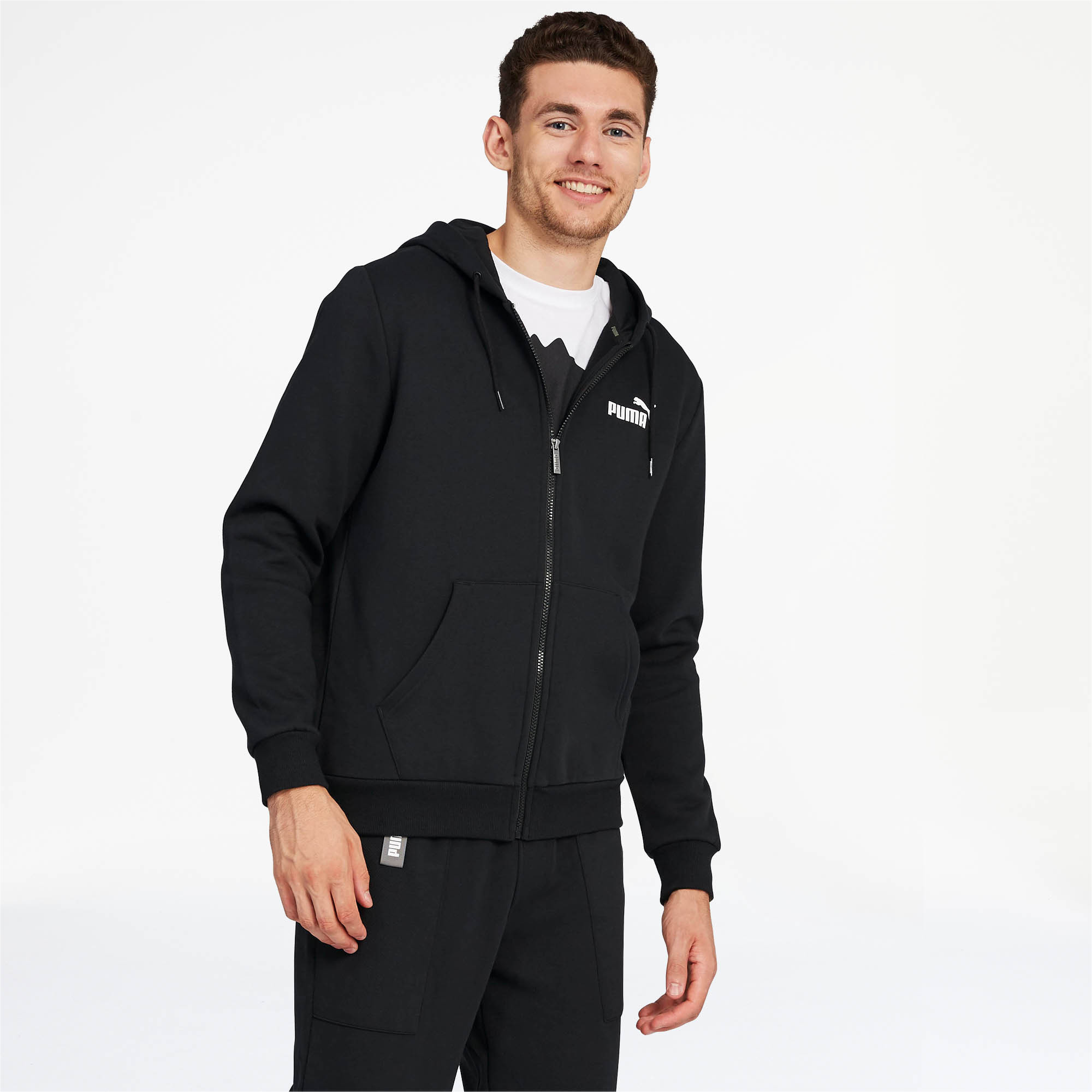 PUMA-Essentials-Men-039-s-Hooded-Fleece-Jacket-Men-Sweat-Basics thumbnail 4