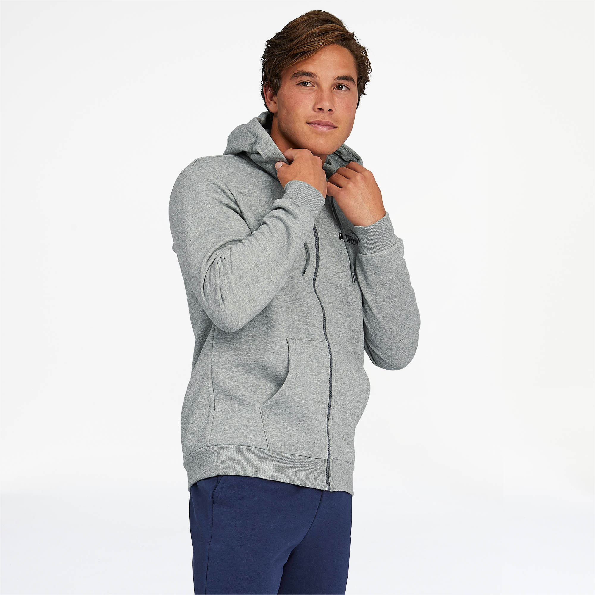 PUMA-Essentials-Men-039-s-Hooded-Fleece-Jacket-Men-Sweat-Basics thumbnail 8
