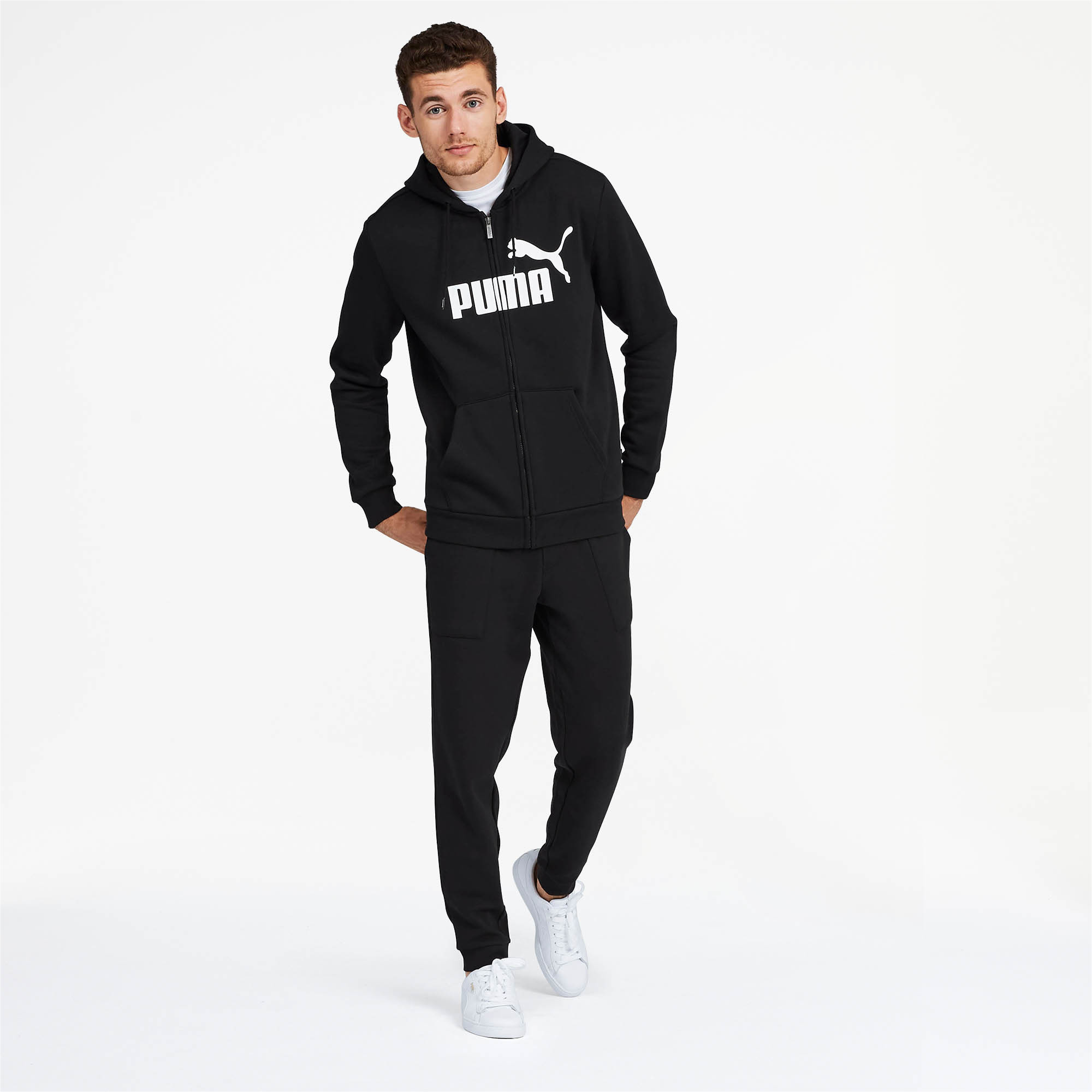 PUMA-Essentials-Men-039-s-Hooded-Fleece-Logo-Jacket-Men-Sweat-Basics thumbnail 6