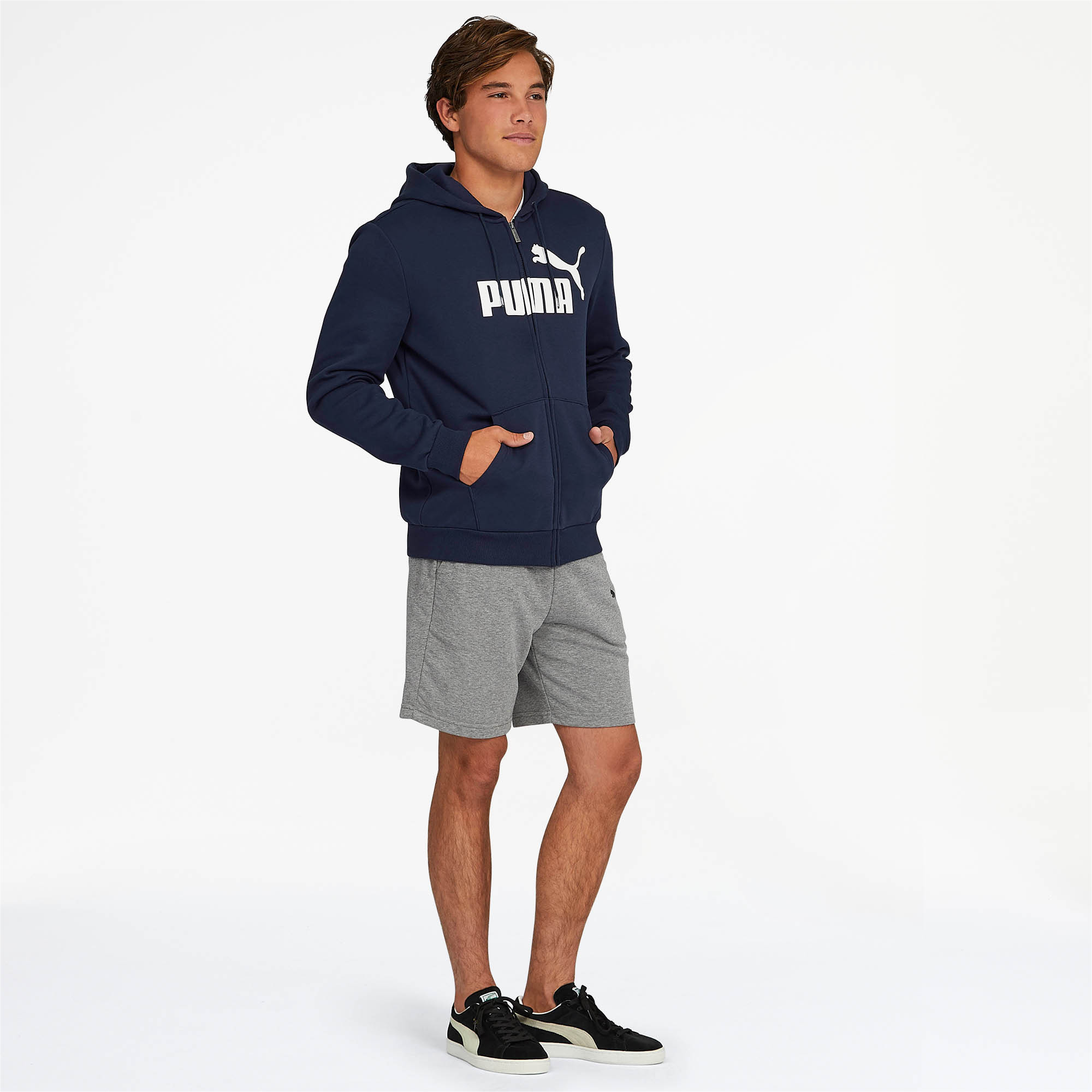 PUMA-Essentials-Men-039-s-Hooded-Fleece-Logo-Jacket-Men-Sweat-Basics thumbnail 16