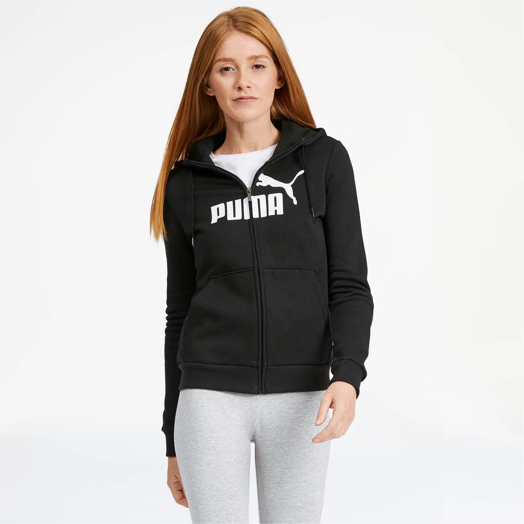 PUMA-Women-039-s-Essential-Fleece-Hooded-Jacket-Women-Sweat-Basics thumbnail 4