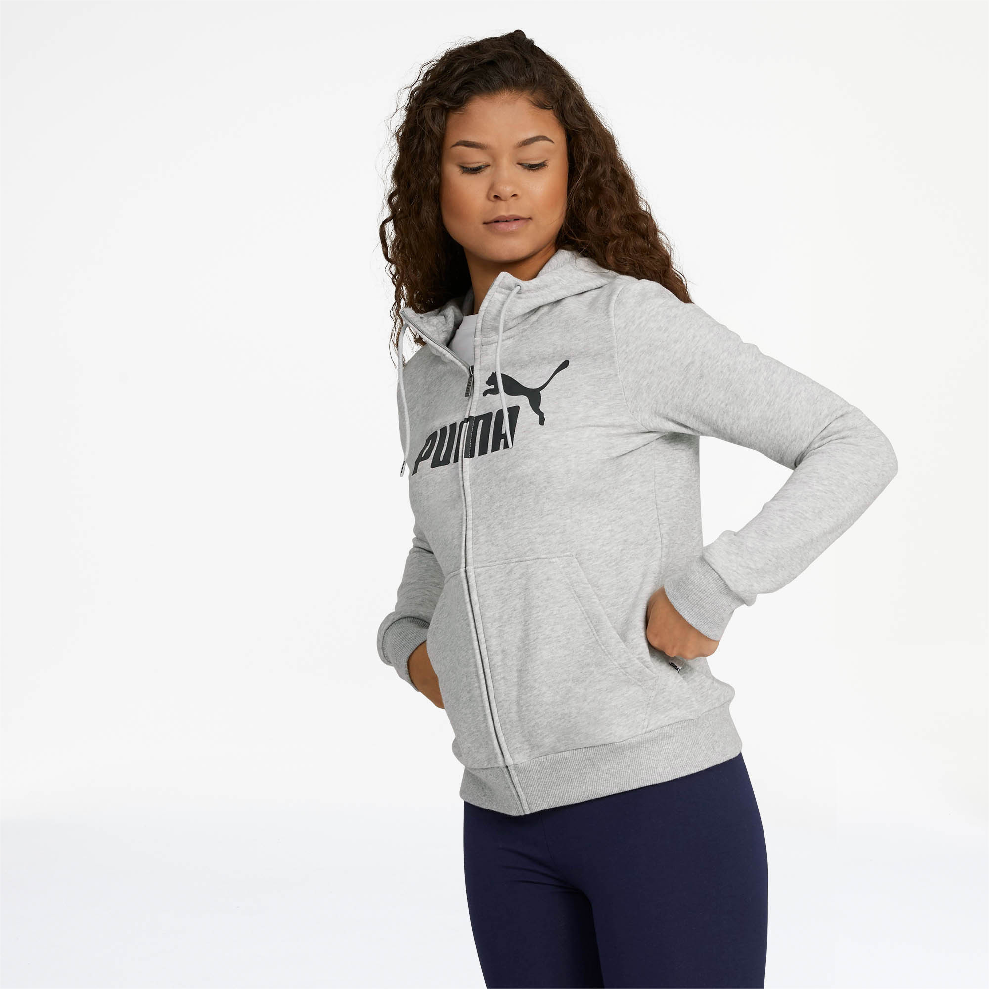 PUMA-Women-039-s-Essential-Fleece-Hooded-Jacket-Women-Sweat-Basics thumbnail 10