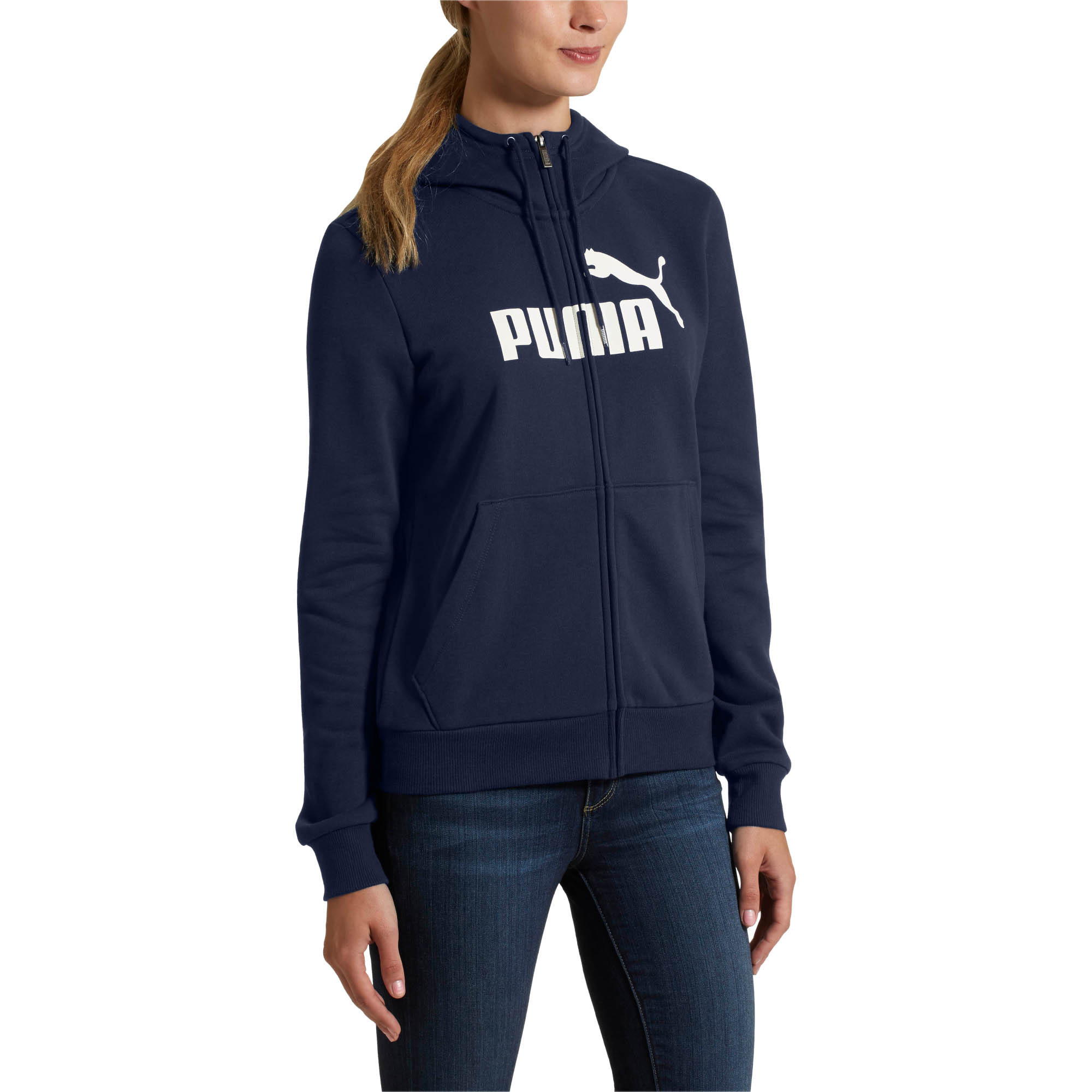 PUMA-Women-039-s-Essential-Fleece-Hooded-Jacket-Women-Sweat-Basics thumbnail 15