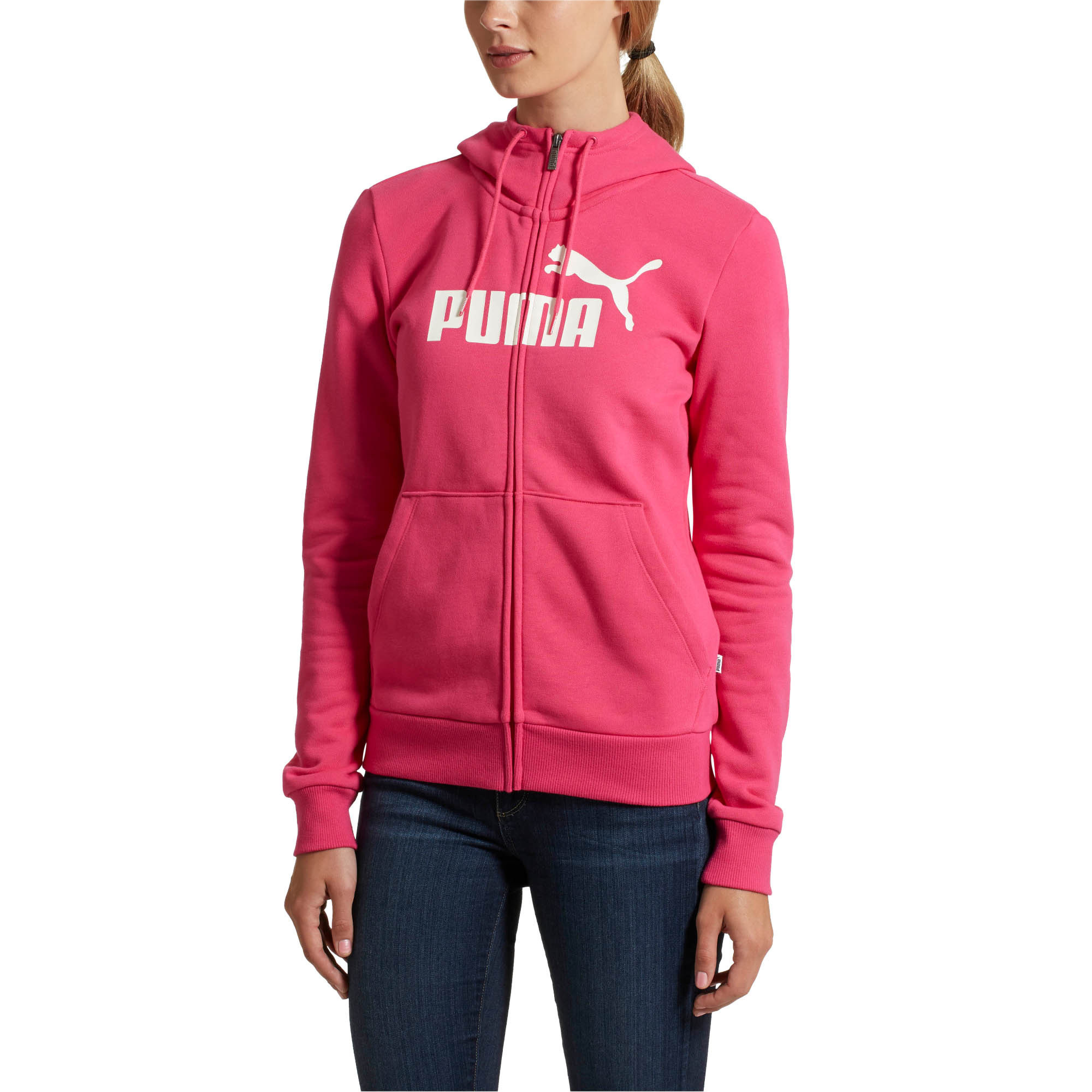 PUMA-Women-039-s-Essential-Fleece-Hooded-Jacket-Women-Sweat-Basics thumbnail 18