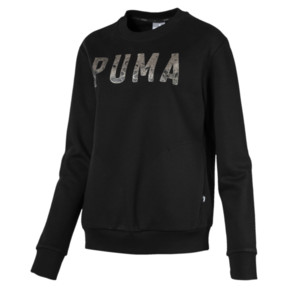 Thumbnail 1 of Athletic Crew Fleece Women's Sweatshirt, Cotton Black-MetalicAsh, medium