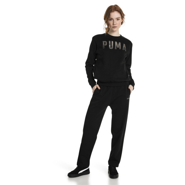 Athletic Crew Fleece Women's Sweatshirt, Cotton Black-MetalicAsh, large
