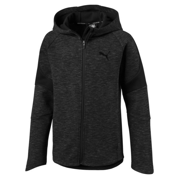 Active Boys' Evostripe Full Zip Hoodie, Cotton Black, large